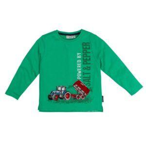 Salt and Pepper Jungen Shirt langarm grün Traktor Gr. 92/98-128/134