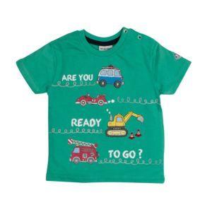 Salt and Pepper Jungen T-Shirt grün Fahrzeuge Gr. 74-92