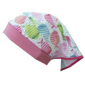 Maximo Mädchen Mütze Kopftuchmütze Pink Fische Gr. 47-53