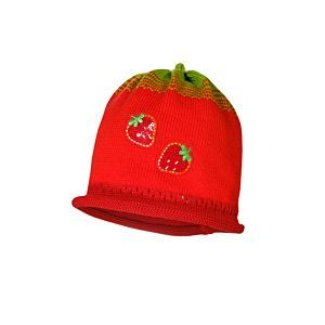 Maximo Mädchen Mütze Strickmütze Erdbeere Rot Gr. 45-53