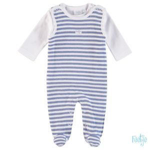 Feetje Baby Strampler Set Zweiteiler Blau-Weiß-Gestreift Erstausstattung Frühchenkleidung Größe 44-62 Basic