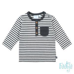 Feetje Baby Shirt Langarm Jungen Grau Festreift Knopfleiste  Größe 50-74 Basic
