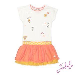 Jubel Mädchen Kleid weiß orange Gr. 104-140