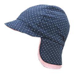 Maximo Baby Mütze Schildmütze Bindemütze UPF 40 hellblau gemustert